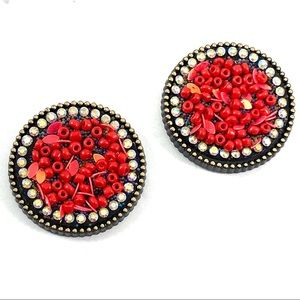Red beaded fashion statement earrings (v2)
